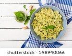 vegan  farfalle pasta in a... | Shutterstock . vector #598940066