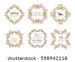 vector set of spring floral... | Shutterstock .eps vector #598942118