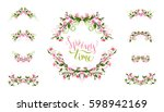 Stock vector vector spring page decorations and dividers ornament of flowers leaves and flourishes on tree 598942169