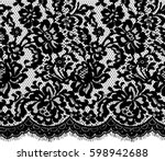seamless black vector lace... | Shutterstock .eps vector #598942688