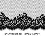 seamless black vector lace... | Shutterstock .eps vector #598942994
