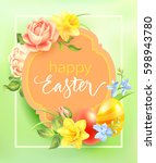easter background with vintage... | Shutterstock .eps vector #598943780