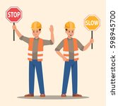 man holding stop sign and slow... | Shutterstock .eps vector #598945700