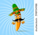 yellow chilli pepper character... | Shutterstock .eps vector #598954988