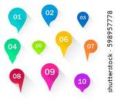 number bullet points flat... | Shutterstock .eps vector #598957778