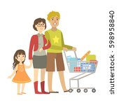 parents and little daughter... | Shutterstock .eps vector #598958840