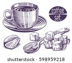 coffee set. collection of hand... | Shutterstock .eps vector #598959218