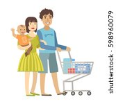 young parents with baby son... | Shutterstock .eps vector #598960079