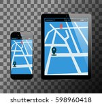 smartphone and pc tablet with... | Shutterstock .eps vector #598960418