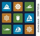 yacht icons set. set of 9 yacht ...   Shutterstock .eps vector #598970516