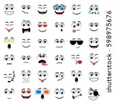 cartoon faces with different... | Shutterstock .eps vector #598975676