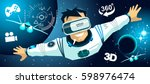 man in vr glasses video game... | Shutterstock .eps vector #598976474
