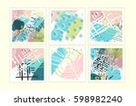 universal floral posters set.... | Shutterstock .eps vector #598982240