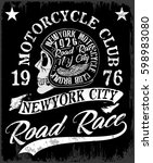 motorcycle label t shirt design ... | Shutterstock .eps vector #598983080