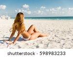 sexy fit woman in bikini...   Shutterstock . vector #598983233