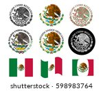 mexican flag seal set | Shutterstock .eps vector #598983764