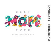 happy mothers day greeting card ... | Shutterstock .eps vector #598988204
