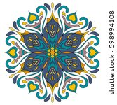 flower mandala. decorative...   Shutterstock .eps vector #598994108