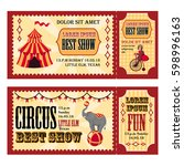 circus tickets design with tent ... | Shutterstock .eps vector #598996163