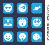 feeling icon. set of 9 filled...   Shutterstock .eps vector #598996448