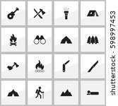 set of 16 editable trip icons.... | Shutterstock . vector #598997453