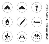 set of 9 editable camping icons.... | Shutterstock . vector #598997510