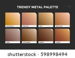 Gold, copper and bronze gradient template. Collection palette of colorful metallic gradient illustrations for backgrounds and textures. Realistic metallic squares palettes. Vector Illustration | Shutterstock vector #598998494