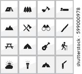 set of 16 editable travel icons.... | Shutterstock . vector #599000978
