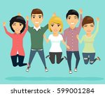 the company of young people is... | Shutterstock .eps vector #599001284