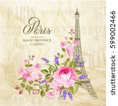 eiffel tower simbol with spring ... | Shutterstock .eps vector #599002466