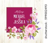 marriage invitation card with... | Shutterstock .eps vector #599002493