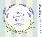 the lavender wreath with...   Shutterstock .eps vector #599007386