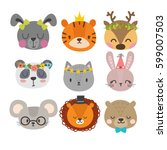 cute animals with funny... | Shutterstock .eps vector #599007503