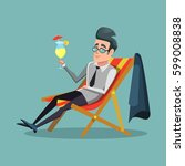 cartoon businessman relaxing on ... | Shutterstock .eps vector #599008838