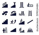 staircase icons set. set of 16...   Shutterstock .eps vector #599014484