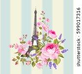 eiffel tower post card design.... | Shutterstock .eps vector #599017316