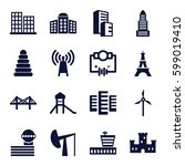 tower icons set. set of 16... | Shutterstock .eps vector #599019410