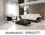 3d rendering of modern living... | Shutterstock . vector #59902177