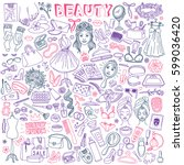 beauty salon and fashion hand... | Shutterstock .eps vector #599036420