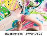 step by step. mother and... | Shutterstock . vector #599040623