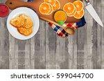 cutting board  fruits  oranges  ... | Shutterstock . vector #599044700
