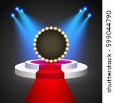 red carpet with round podium.... | Shutterstock .eps vector #599044790