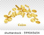 gold coins falling. coin icon... | Shutterstock .eps vector #599045654