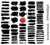 set of brush stroke and texture.... | Shutterstock .eps vector #599045864