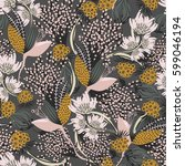 floral seamless pattern. hand... | Shutterstock .eps vector #599046194