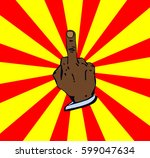 middle finger. fuck you hand.... | Shutterstock .eps vector #599047634