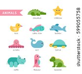 set of cute animals painted on... | Shutterstock .eps vector #599055758
