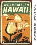 hawaii vintage metal sign for... | Shutterstock .eps vector #599057648