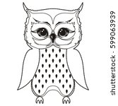 small owl chick coloring book.... | Shutterstock .eps vector #599063939