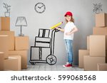 happy child playing into new... | Shutterstock . vector #599068568